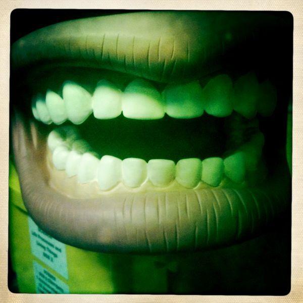 grandads false teeth denim dark dude