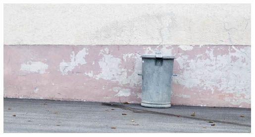 trash can at the wall