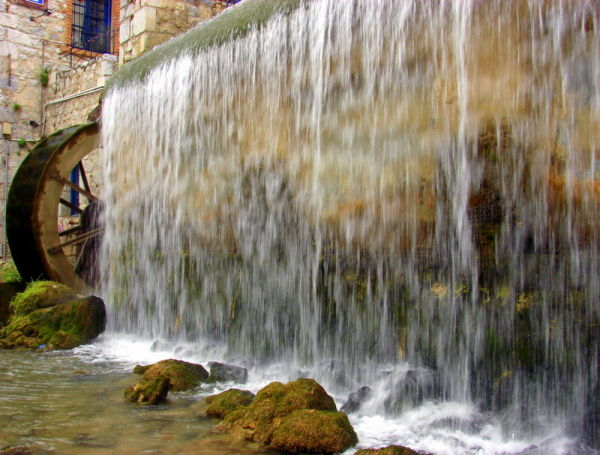 An old mill and a waterfall in Livadia