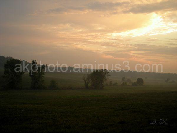 Sunset, fog