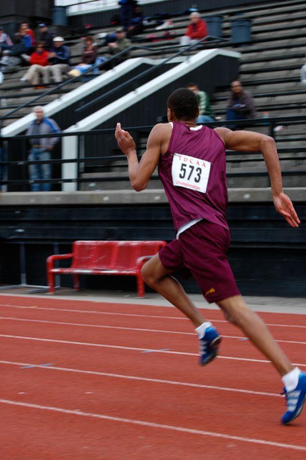 Track runner winning race