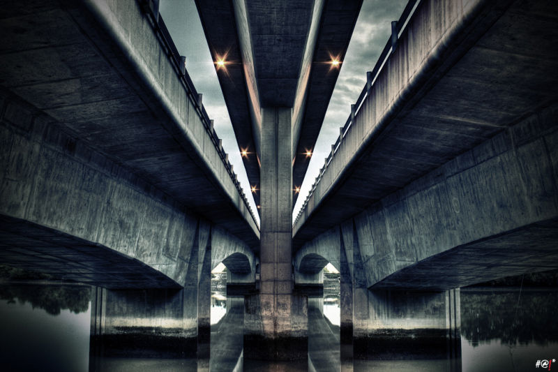 Under a highway flyover