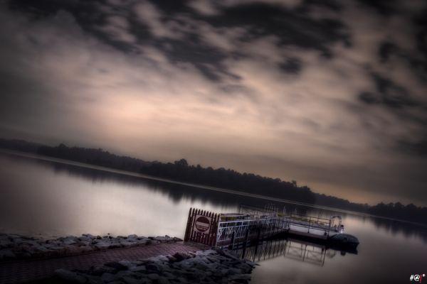 Landscape of a skyline over a lake