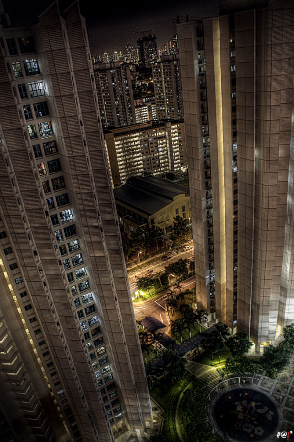 A view down one of Singapore's highrise apartments