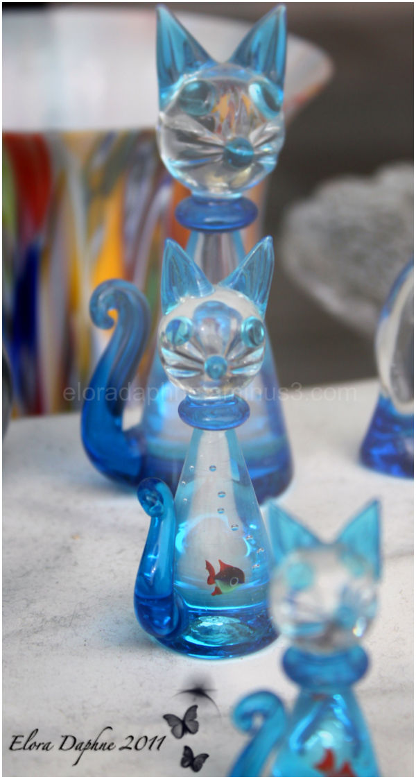 murano glass cats