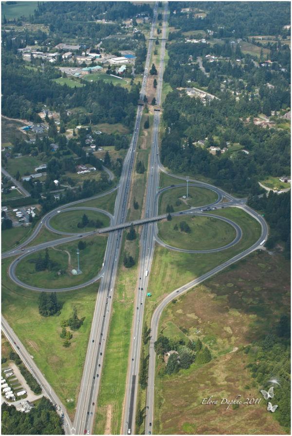 hoghway interchange aerial photography