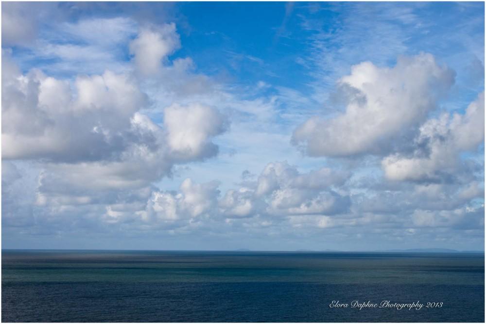 sea clouds blue