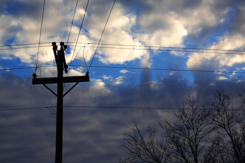 telephone wires and clouds