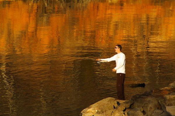 fisherman at lake ray roberts texas