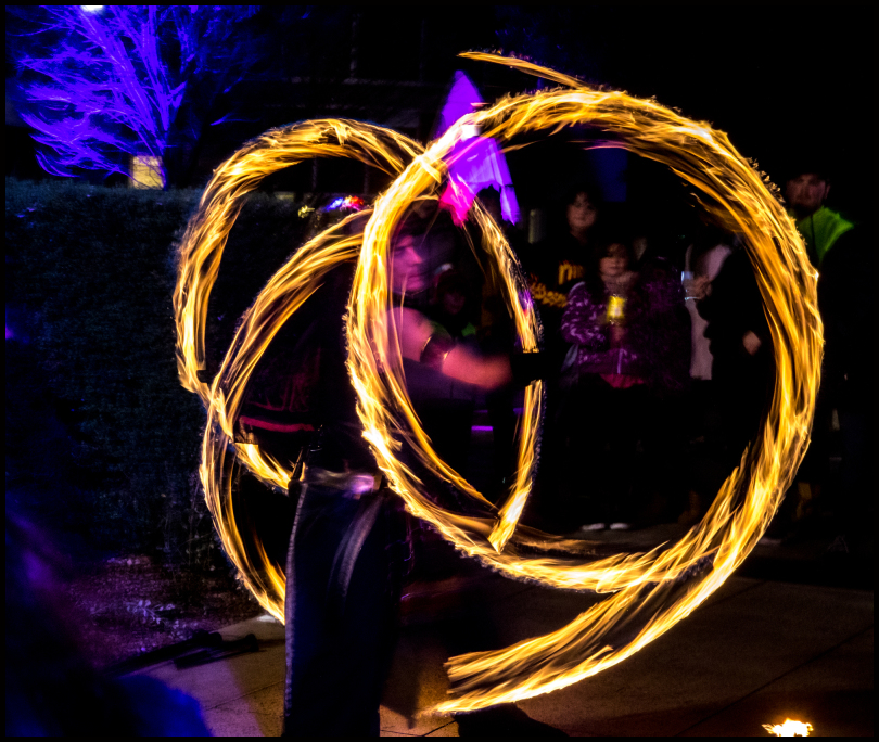 There are always fire twirlers