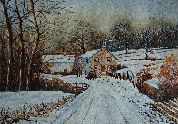 Watercolor about winter in Padley