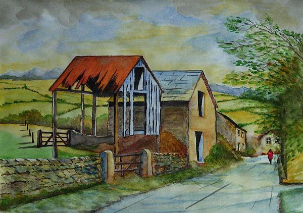 Watercolor about autumn in rural landscape