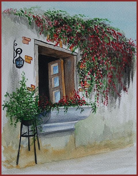 watercolor about spring near home