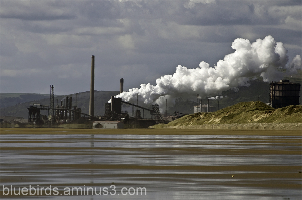 Sker Beach view of Port Talbot Steelworks