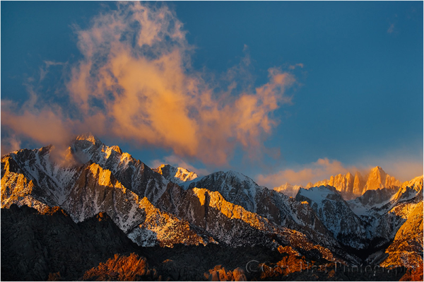First light on Mt. Whitney on a winter morning