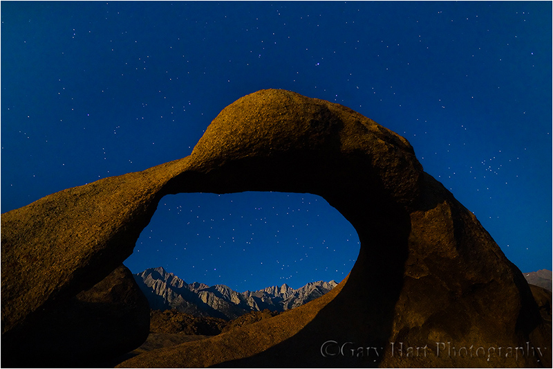 Mt. Whitney through the arch by moonlight