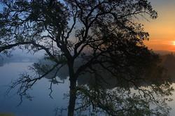 Sun rises above Lake Natoma.