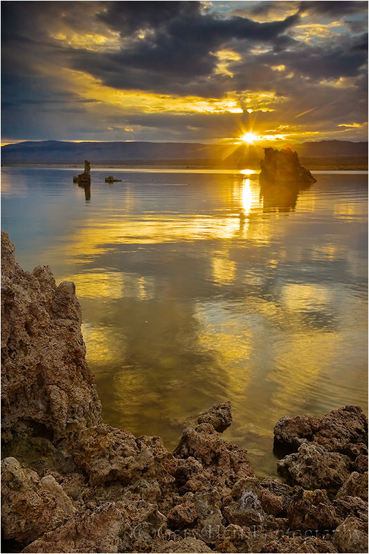 Sun rises above Mono Lake