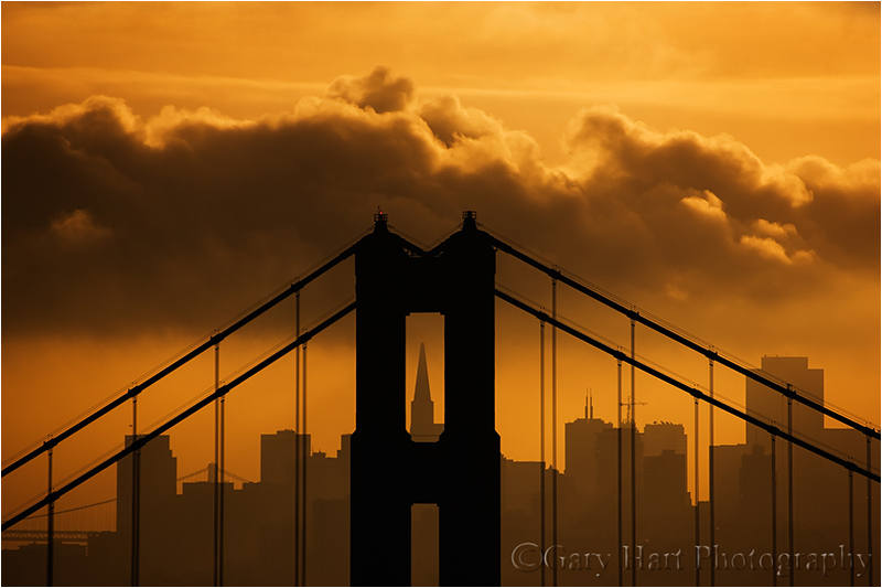 Sunrise over San Francisco and the Golden Gate Br.
