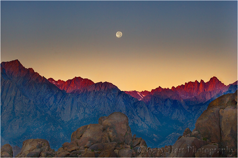 Moon sets behind Mt. Whitney at sunrise