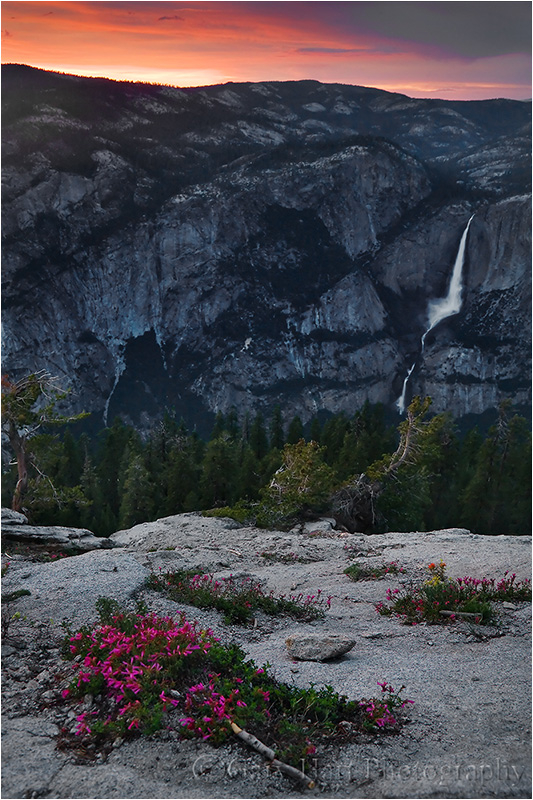 Yosemite Falls at sunset from Sentinel Dome