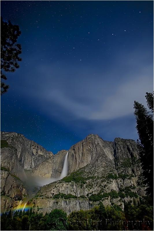 Moonbow and Big Dipper above Yosemite Fall