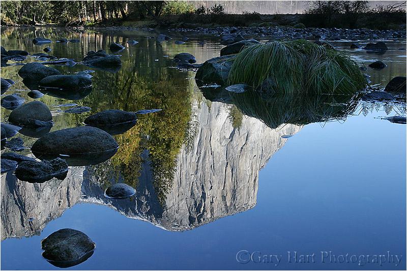 El Capitan reflected in the meandering Merced.