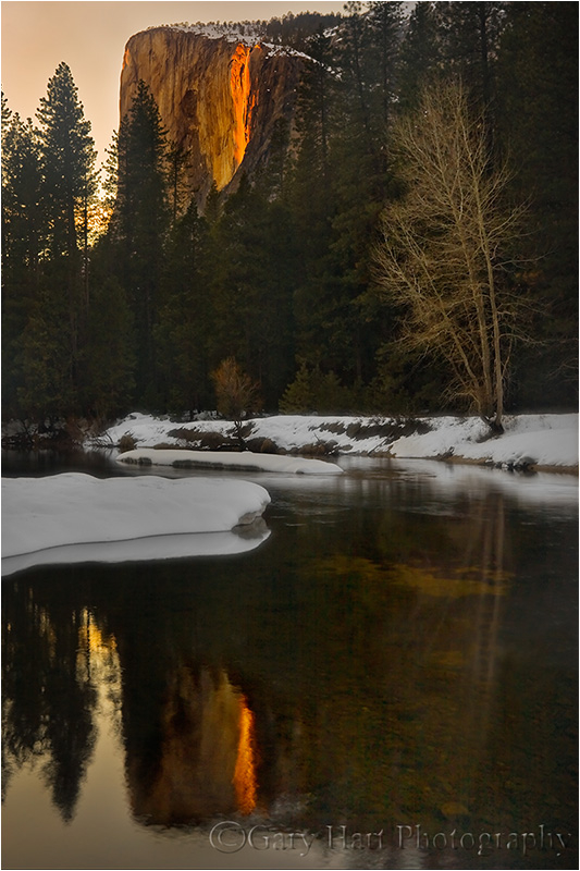 Horsetail Fall reflects in the Merced River