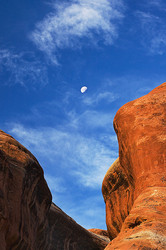 Moon and clouds in Arches National Park
