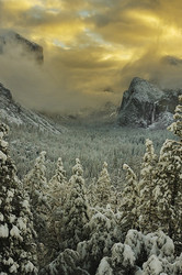 Storm clears over Yosemite Valley at sunrise