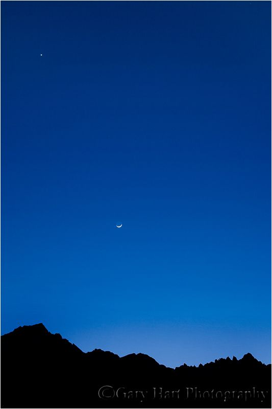 Crescent moon above Mt. Whitney