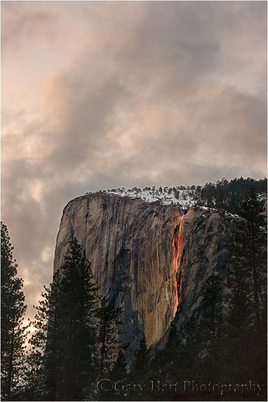 Horsetail Fall lights up at sunset
