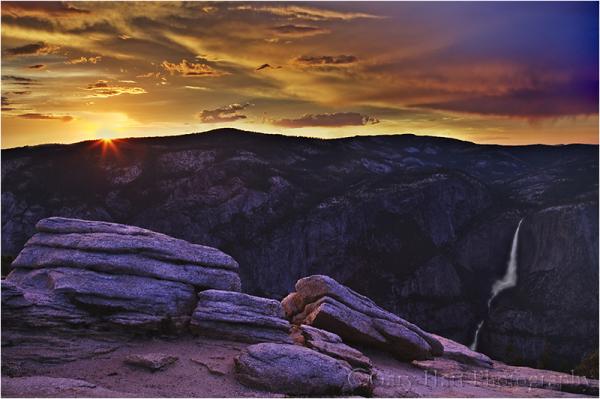Sunset Sunburst, Yosemite Falls from Sentinel Dome