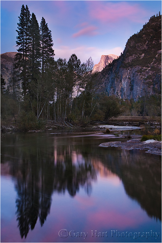 Half Dome reflection at sunset