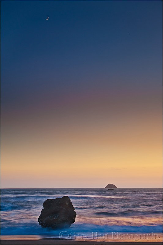 Crescent moon at sunset, Mendocino Coast