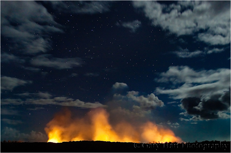 Lava flow and night sky