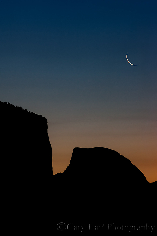 Crescent moon above El Capitan and Half Dome