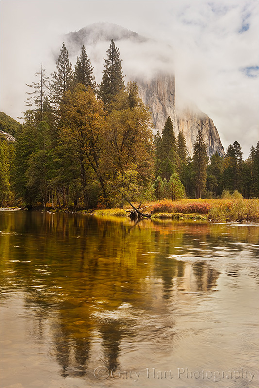 Cloud shrouded El Capitan reflected in the Merced