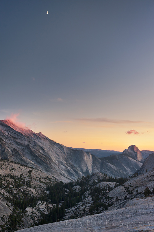 Crescent moon at sunset, Olmsted Point, Yosemite