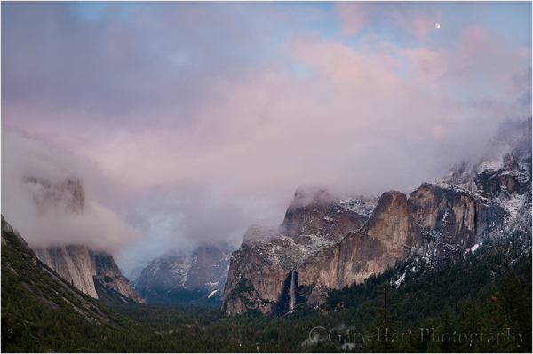 Yosemite Valley and rising moon at twilight