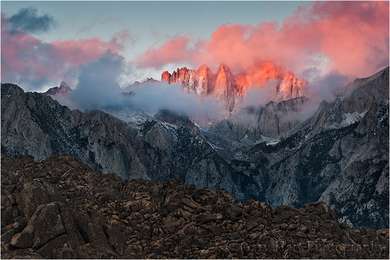 Alpenglow, Mt. Whitney and the Alabama Hills