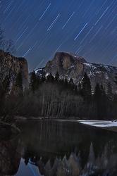 Winter Star Trail Reflection, Half Dome, Yosemite