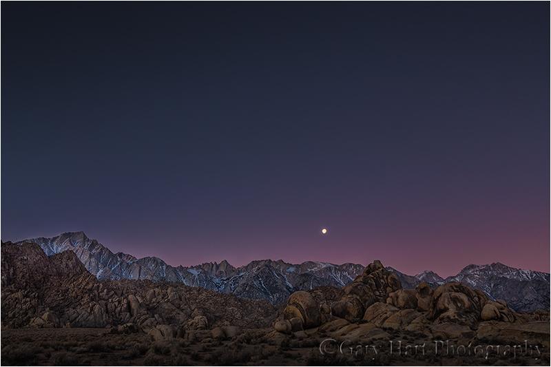 Moonset, Mt. Whitney, Alabama Hills, California