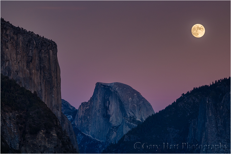Twilight Moonrise, El Cap and Half Dome, Yosemite
