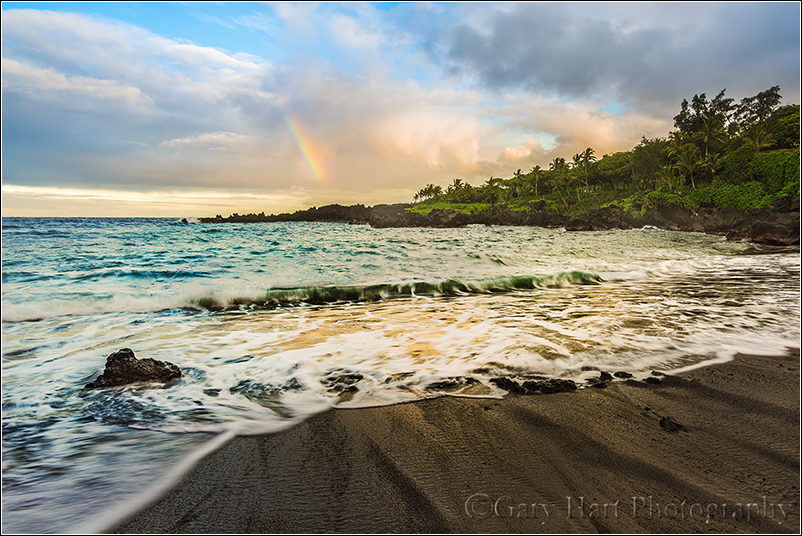 Rainbow and Surf, Wai'anapanapa Beach, Maui