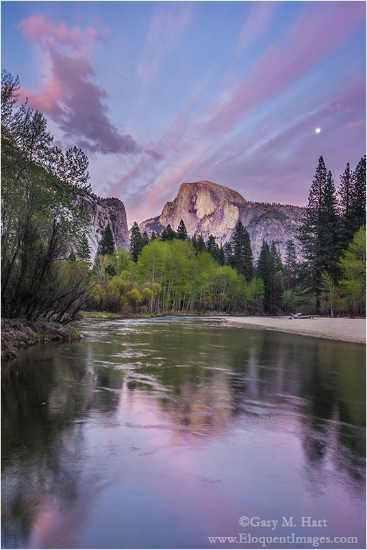 Spring Moonrise, Half Dome, Yosemite