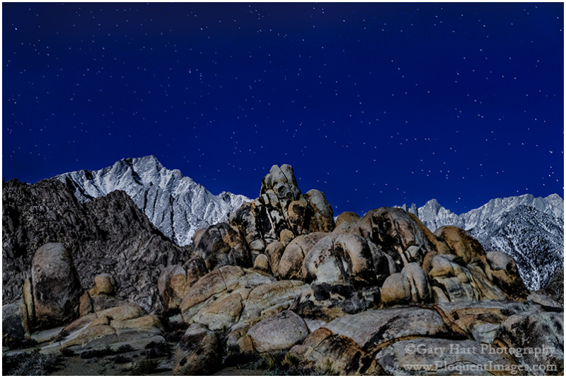 Sierra Moonlight, Mt. Whitney and Lone Pine Peak