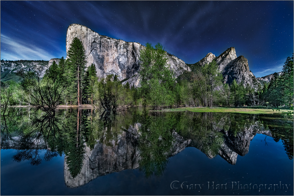 Moonlight Reflection, El Capitan, Yosemite
