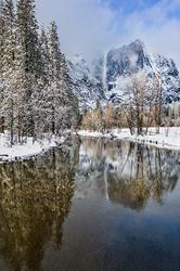 Yosemite Falls Reflection, Swinging Bridge