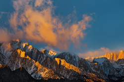 First Light, Lone Pine Peak and Mt. Whitney